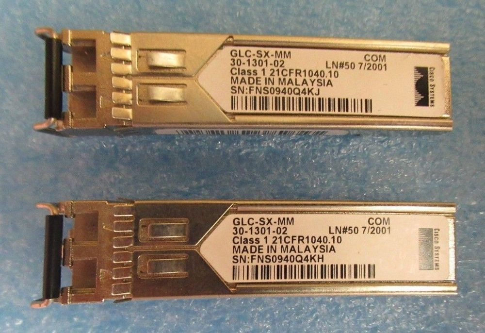 2 x Cisco GLC-SX-MM 1000Base-SX SFP Fibre Channel Transceiver Module 30-1301-02